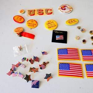 Lot # 199- Collectible pin Collection: USC and USA Olympic pins/ USA patches