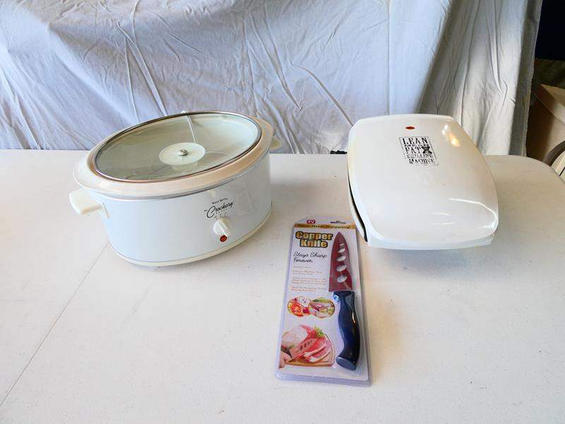 Lot # 201- George Foreman grill/ Crock pot/ Copper knife (new) (main image)