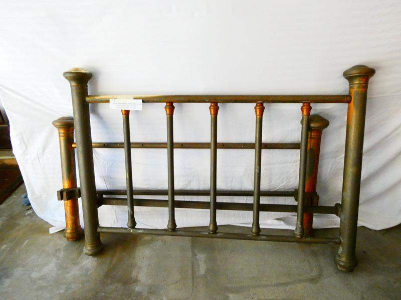 Lot # 3-Antique brass and iron bed frame (no rails) (main image)