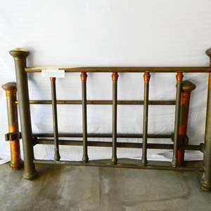 Lot # 3-Antique brass and iron bed frame (no rails)