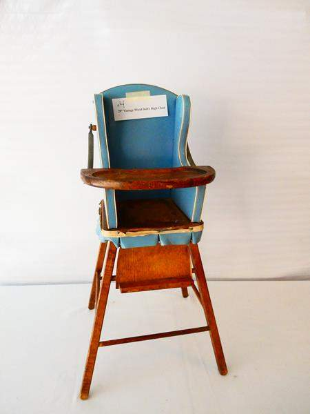 """Lot # 4- Vintage wood doll's high chair- 29"""" tall (main image)"""