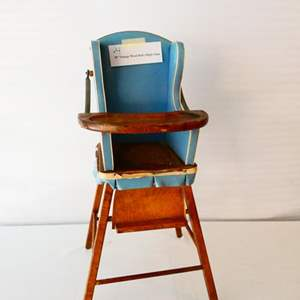 """Lot # 4- Vintage wood doll's high chair- 29"""" tall"""
