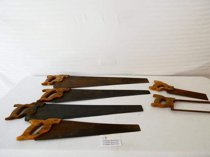 Lot # 5- Four Vintage hand saws, 1 vintage back saw, 1 vintage hack saw (main image)