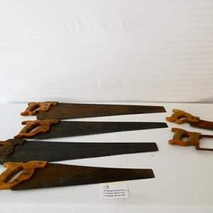 Lot # 5- Four Vintage hand saws, 1 vintage back saw, 1 vintage hack saw