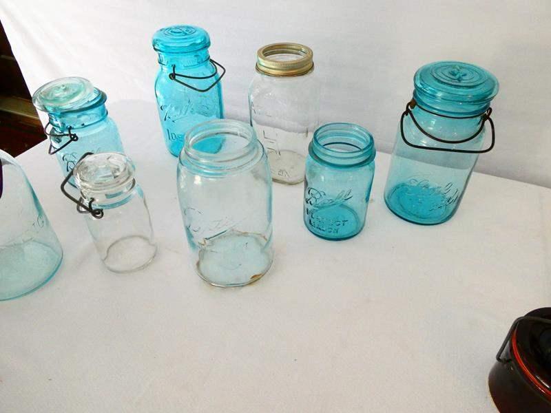 "Lot # 6- 34 Vintage mason/cannning jars and blue canning jars/ Trademark ""lightening"" bottom putnam 482 (main image)"