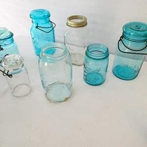 "Lot # 6- 34 Vintage mason/cannning jars and blue canning jars/ Trademark ""lightening"" bottom putnam 482"