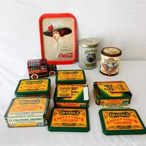Lot # 12- 1909 Hamilton king Vintage Coca Cola metal tray, vintage metal tins, Vintage Crayola collectors colors tin's