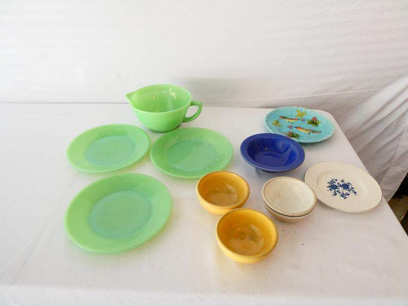 Lot # 18- Antique Germany Majolica birds in tree berries plate/ vintage heavy pottery bowls (main image)