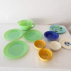 Lot # 18- Antique Germany Majolica birds in tree berries plate/ vintage heavy pottery bowls
