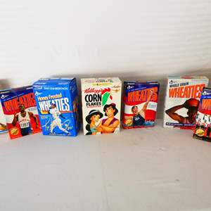 Lot # 21-Collectible vintage cereal boxes- Jordan, Griffey (Signed)- see pictures