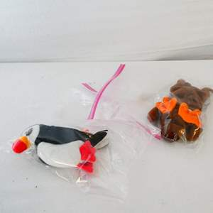 """Lot # 24- Rare Vintage Beanie Babies: 1993 Retired """"Chocolate the Moose""""/ 1997 """"Puffer the Puffin"""""""