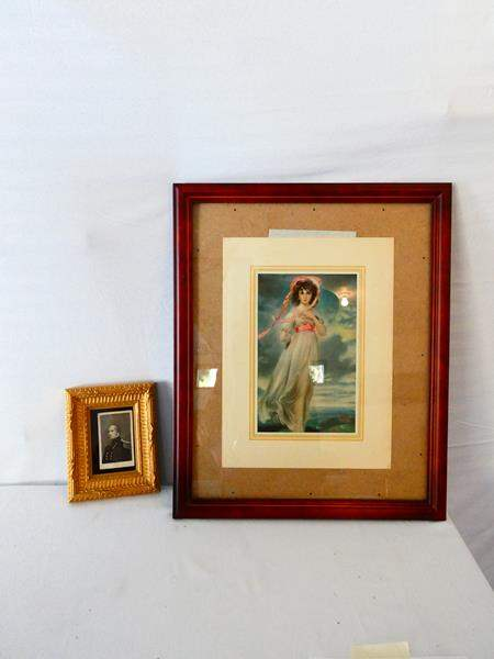 "Lot # 30-Print of painting ""Pinkie"" by Thomas Lawrence, 1794/ Antique photograph, War of 1812 (main image)"