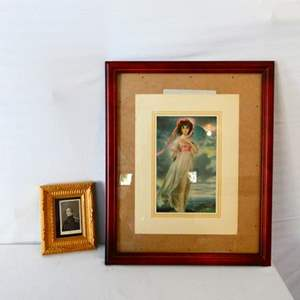 """Lot # 30-Print of painting """"Pinkie"""" by Thomas Lawrence, 1794/ Antique photograph, War of 1812"""