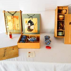 """Lot # 32-Vintage decor from Japan: 20"""" Traditional tea set- see all details and pics"""