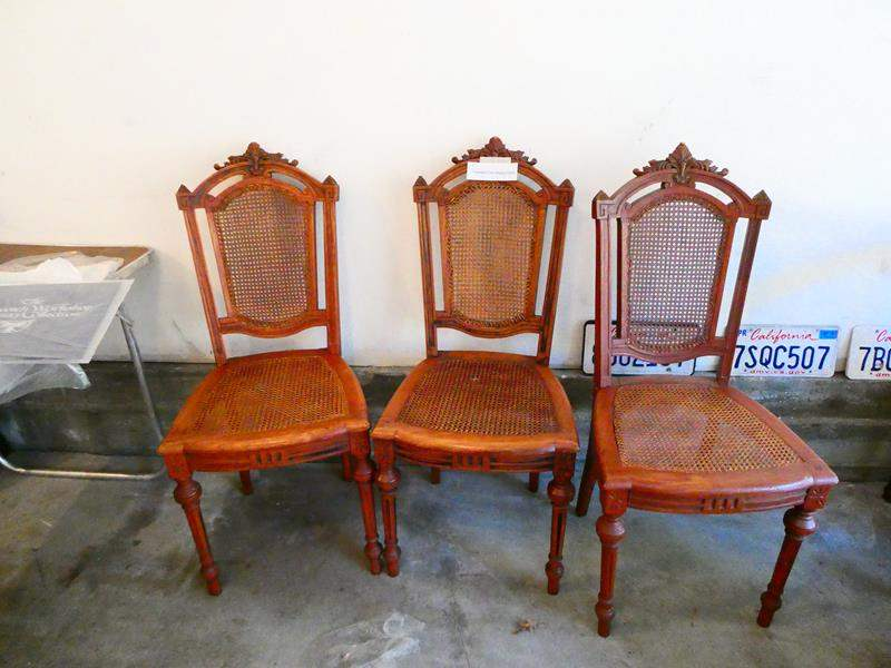 Lot # 33-Three Antique Cane dining chairs- Amazing wood work details (main image)