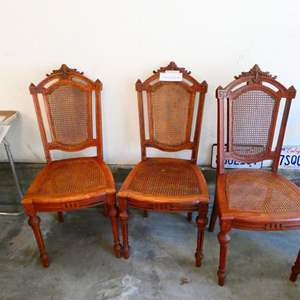 Lot # 33-Three Antique Cane dining chairs- Amazing wood work details