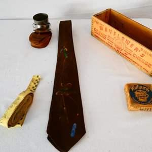 Lot # 34-Antique/ vintage items: Williams mug shaving soap/ vintage Mayflower's cream chees wood box