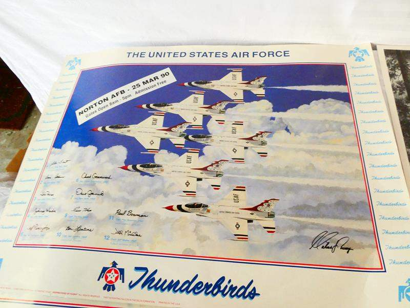 "Lot # 40- Collection prints: Two signed air force thunderbirds posters/ ""Winter St. Louis Creek"": Dwight D. Eisenhower (main image)"