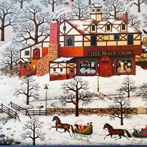 """Lot # 42-Charles Wysocki, limited edition, signed print, 79/ """"Evening sled ride"""" see details"""