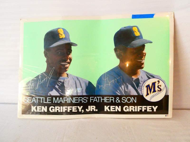 Lot # 43-Seattle Mariners father & Son, Ken Griffey, Jr. & Ken Griffey poster (main image)