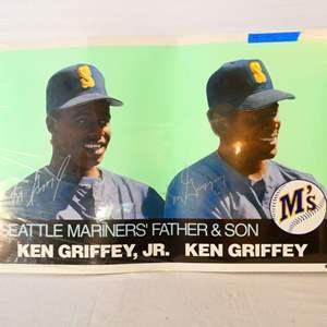 Lot # 43-Seattle Mariners father & Son, Ken Griffey, Jr. & Ken Griffey poster