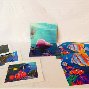 """Lot # 45- Disney Lithograph, """"Nemo and Dory"""" 11 by 14 with matching placement mats"""