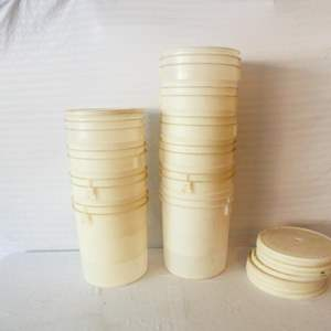 Lot # 46-10 Food grade round white plastic storage buckets with lids- see pics for sizes