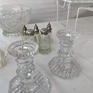 Lot # 7- Vintage Leonard crystal bases, silver plate lids, salt and pepper set, and more