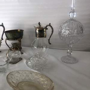 Lot # 10-Glass and silver plated 6 cup Carafe, FB Rogers Silver co./ Vintage silver-plate water pitcher