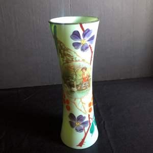 Lot # 11- Antique Victorian Bristol Glass enameled vase