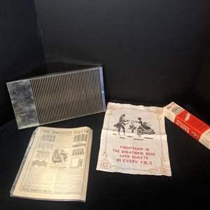 Lot # 36- Vintage cross stitch sampler on linen/ Vintage simplicity Plaiter/ Vintage Orco Tack it pattern Marker
