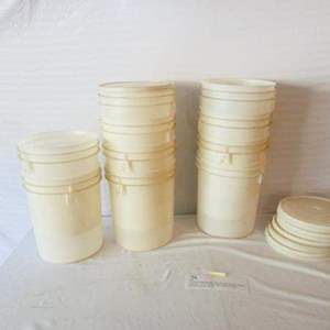 Lot # 47-10 Food grade round white plastic storage buckets with lids- see pics for sizes