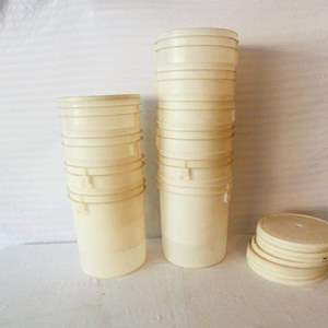 Lot # 49-10 Food grade round white plastic storage buckets with lids- see pics for sizes