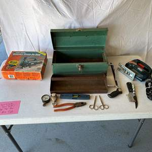 Lot # 156-Black & Decker Jig Saw, metal tool box & misc. tools