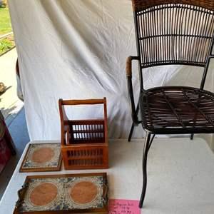 Lot # 159-Wood magazine rack, tile top trivet, tile tray, metal/wicker/wood chair