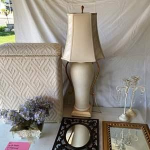 Lot # 161-Lamp, candle holders, mirror, wicker hamper, wall decor