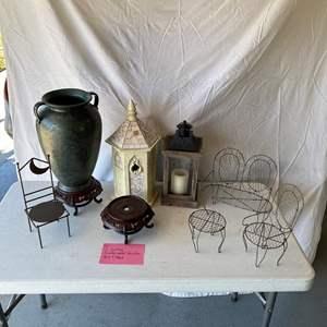 Lot # 163- 2 Lanterns, mini metal furniture, vase & stand