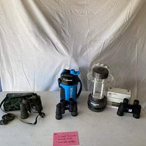 Lot # 165- 3 Bushnell Binoculars, 1 Powerade drink holder & Lantern