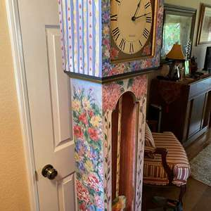 Lot # 166-Grandfather type clock, hand-painted and handmade