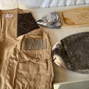 Lot # 169-Fishing vest, 2 fish platters
