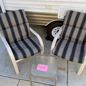 Lot # 176- 2 Aluminum chairs and glass top table (w/pads )