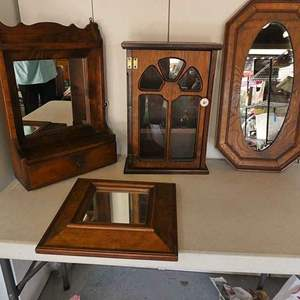 Lot # 207- Lot # 231-Vintage cabinets:  Wall hanging shelf/ mirror/ Curio cabinet