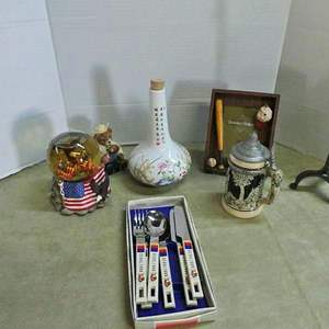 Lot # 225- Collectors lot, Olympic  flatware/ stein, Germany/ Asian vase/ American globe