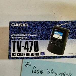 """Lot # 229-Casio battery operated TV-470 LCD color TV 2.2"""" screen (new- not tested)"""