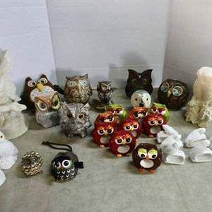 """Lot # 230- What a """"HOOT"""" Awesome owl collection/ with 2 owl wall hangings"""
