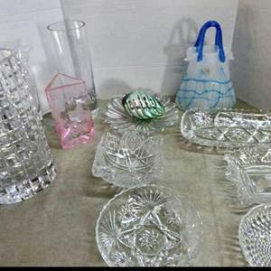Lot # 231- Crystal and glassware: one bud base- Crystal house, Margies garden glass