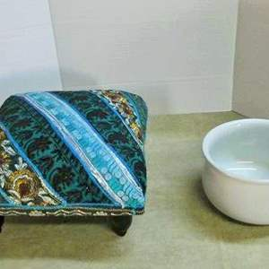 """Lot # 234- The original """"squatty potty"""" Antique commode pot and foot stool"""