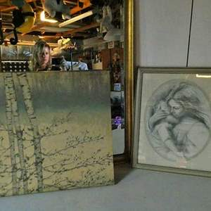 Lot # 236-Mirror/ Artwork: mother and baby/ tree canvas