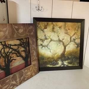 Lot # 237- Framed artwork, oil on canvas/ Metal 3d art