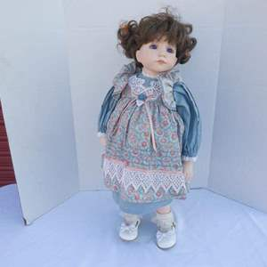 "Lot # 256-Porcelain doll made by ""Dianna Effner"" 1994"